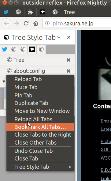 (Screenshot of fake context menu in the sidebar)