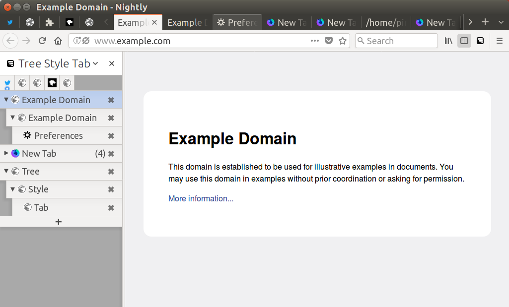 (A screenshot of Firefox Nightly 58 with Tree Style Tab's sidebar panel)